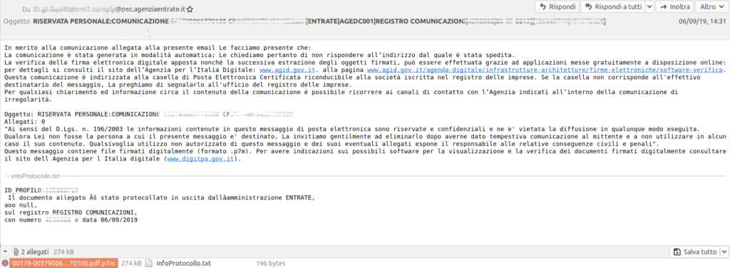 eniac blog - e-mail copiata dal virus PEC